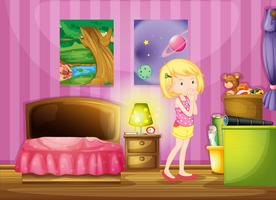 Uma garota desejando dentro do quarto dela vetor