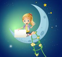 Uma menina sentada na lua, segurando uma sinalização vazia