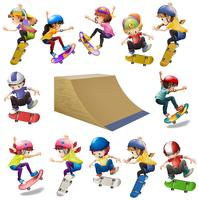 Meninos e meninas andando de skate na rampa vetor