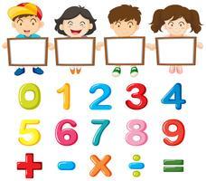 Crianças e números coloridos vetor