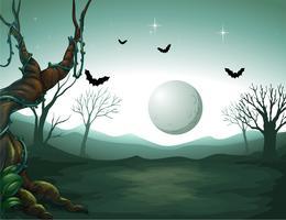 Um cemitério e uma lua vetor