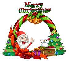 Um modelo de cartão de Natal com um monstro e um boneco de neve acima do trenó vetor