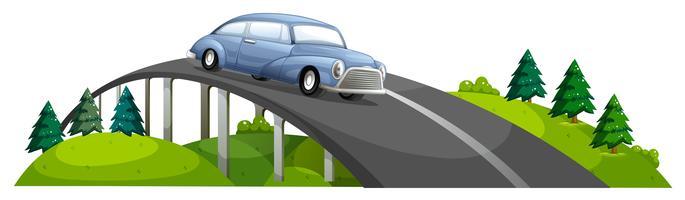 Um carro passando por cima da ponte vetor