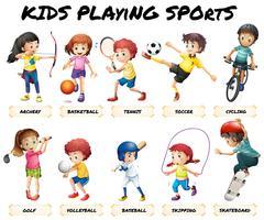 Meninos e meninas praticando esportes vetor