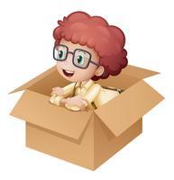 Um, menina, em, um, caixa vetor