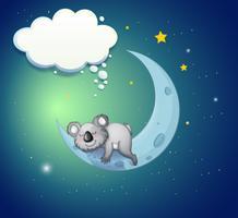 Um coala acima da lua vetor