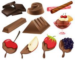 Diferentes estilos de sobremesa de chocolate vetor
