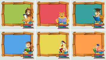 Molduras de madeira com animais lendo livros vetor