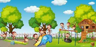 Um grupo de dinheiro jogando no playground vetor