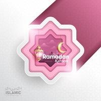 A arte do papel de fundo de Ramadan Kareem ou o papel cortaram o estilo com lanterna de Fanoos, a lua crescente & o fundo da mesquita. Para banner da Web, cartão & modelo de promoção em feriados de Ramadã de 2019.