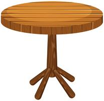 Mesa redonda de madeira no fundo branco vetor