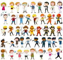 Muitos personagens com diferentes ocupações vetor