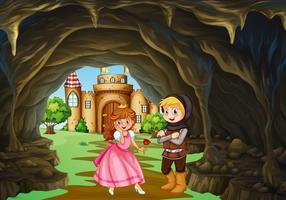 Caçador e princesa na caverna vetor