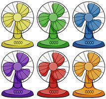 Ventiladores elétricos em seis cores diferentes vetor