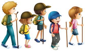 Meninos meninas, com, hiking, equipamento vetor