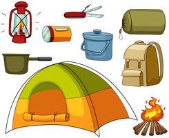 Camping conjunto com tenda e equipamentos vetor