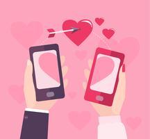 Dia dos namorados móvel. vetor