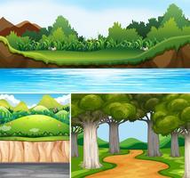 Três cenas da natureza com rio e estrada vetor