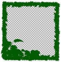 Modelo de fronteira com grama verde e folhas vetor