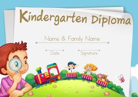 Modelo de diploma para alunos do jardim de infância vetor