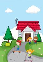 Crianças, frente, casa vetor