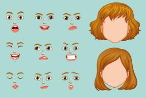 Mulher, caras, com, diferente, expressões vetor