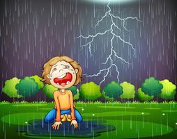 Um garoto chorando perdido na chuva de madeira vetor
