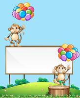 Macaco com balão na placa de sinal vetor
