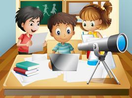 Três crianças, trabalhando grupo, em, escola vetor