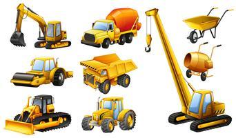 Diferentes tipos de caminhões de construção vetor