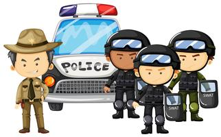 Policial e equipe da SWAT de uniforme vetor