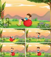 Mulher, fazendo, diferente, posições, de, ioga vetor