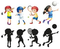 Meninos meninas, fazendo esportes