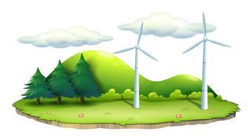 Moinhos de vento na ilha vetor
