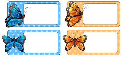Etiqueta quadrada com borboletas coloridas