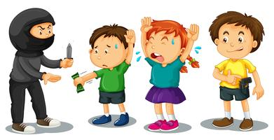 Crianças sendo roubadas na rua vetor