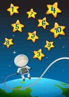 Números em estrelas e astronautas voando vetor