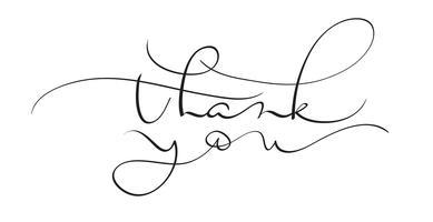 obrigado texto do vetor no fundo branco. Caligrafia, lettering, ilustração, EPS10