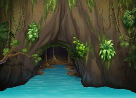 Uma caverna e água vetor