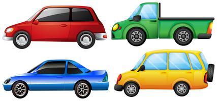 Quatro carros com cores diferentes vetor