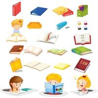 Alunos e seus materiais escolares vetor