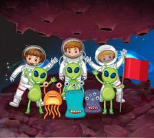 Astronautas e alienígenas no mesmo planeta vetor