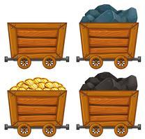 Produtos de mineração em carrinhos de madeira vetor