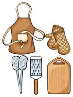 Utensílios de cozinha com avental e luvas
