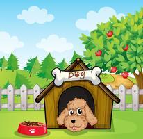 Um filhote de cachorro e sua comida de cachorro vetor
