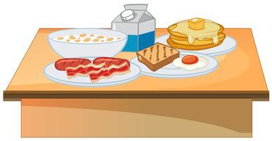 Buffet de café da manhã conjunto de alimentos vetor