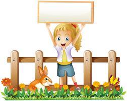 Uma garota com uma moldura vazia e um coelho vetor