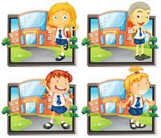 Quatro, estudantes, em, uniforme, em, escola