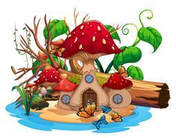 Casa de cogumelo na lagoa vetor