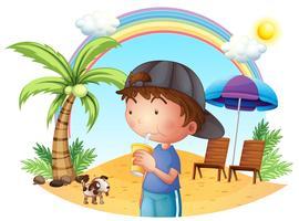 Um, menino jovem, praia, com, seu, animal estimação vetor